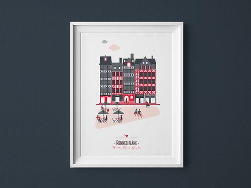 Affiche | Rennes Champ Jacquet | Rouge
