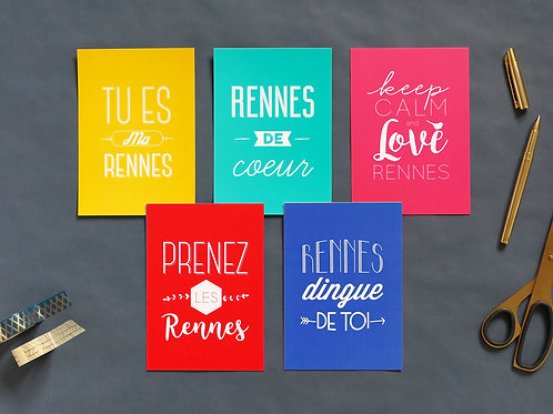 Cartes postales | Set de 5 | Love Rennes