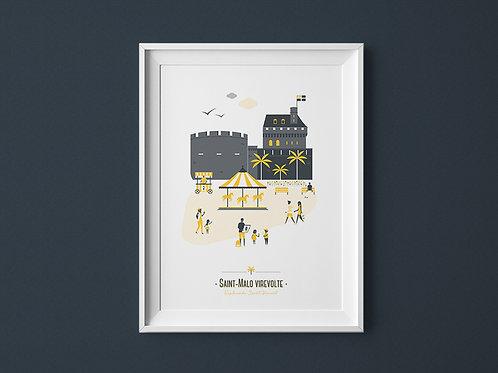 Affiche | Saint-Malo | Jaune