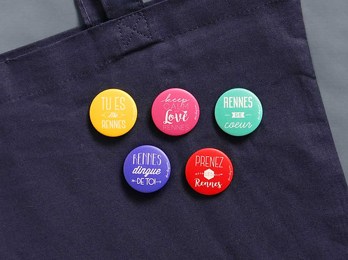 Badges | Set de 5 | Love Rennes