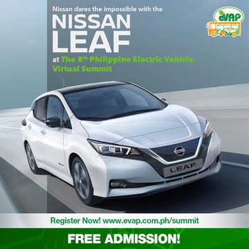 Nissan continues to support EV adoption in the Philippines as it prepares to launch the world's first mass-produced EV, the Nissan LEAF, in the country! See it first at the 8th Philippine Electric Vehicle Virtual Summit, happening this Sept 24-26. Register now: http://evap.com.ph/summit