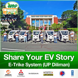 For today's SHARE YOUR EV STORY, we highlight the E-Trike System, implemented by the University of the Philippines, in partnership with the Department of Science and Technology (DOST), and the Deparment of Energy (DOE). The system features a sustainable energy storage and vehicle charging system! Register FREE now for the 8th Philippine Electric Vehicle Summit: evap.com.ph/summit