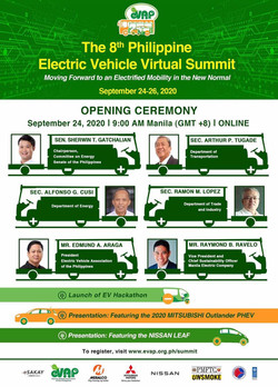 How far is the Philippines in integrating EV technology in society?   Listen and learn from our amazing speakers, Sen. Sherwin Gatchalian, Sec. Arthur Tugade, Sec. Alfonso Cusi. Sec. Ramon Lopez, Mr. Edmund Araga, and Mr. Raymond Ravelo, on day 1 (Sept 24).  You'll also get to see presentations of revolutionary EV vehicles, the Mitsubishi Outlander PHEV and the Nissan LEAF, so register now for the 8th Philippine Electric Vehicle Virtual Summit!  http://evap.com.ph/summit/ FREE ADMISSION!
