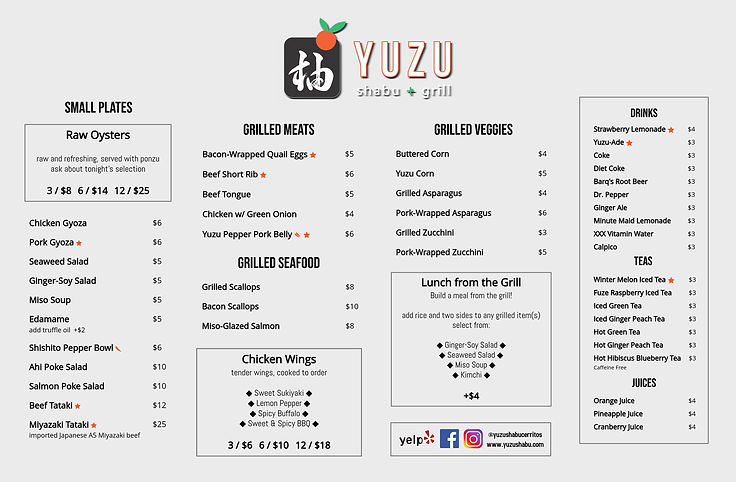 2018-10-05 - Yuzu Lunch Menu (Front) - P