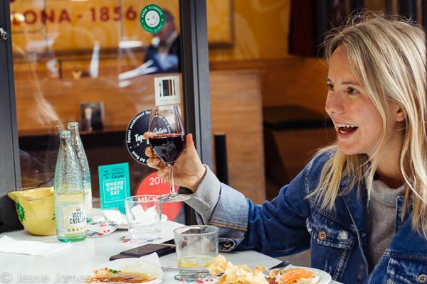 My Foodie Friend Barcelona Lolita's Taperia Blogger Glass of Wine