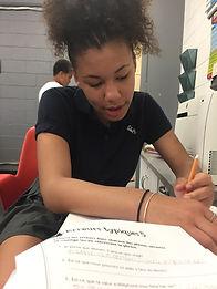 Youth doing homework