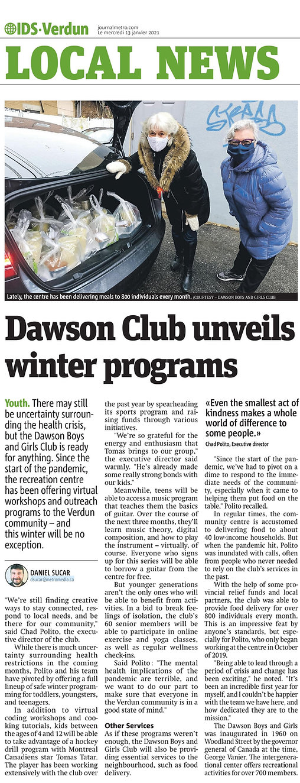 IDS verdun new article about Dawson Boys and Girls Club winter programs