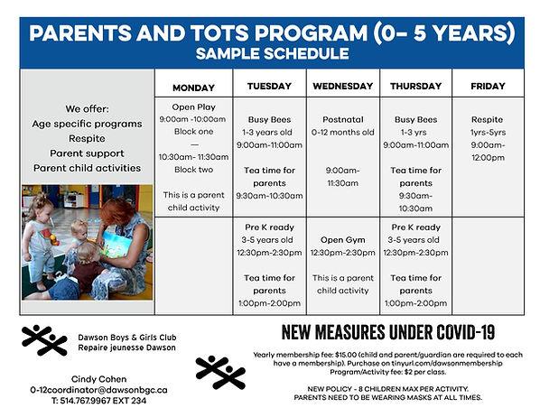 Parents and Tots Program Schedule