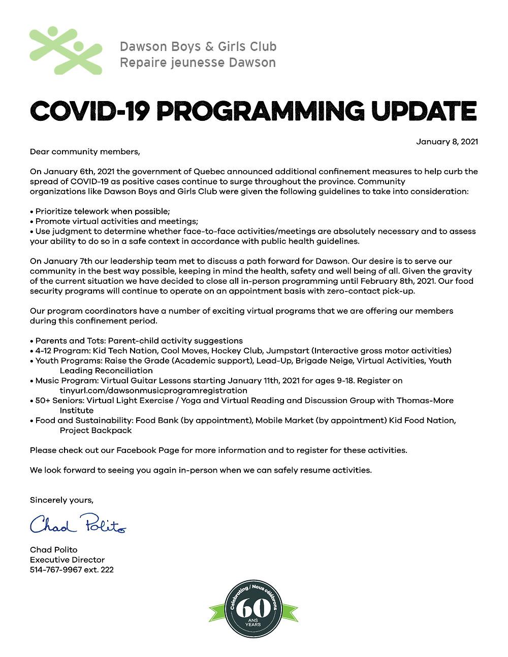 COVID-19 Programming Update