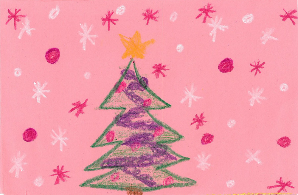 Children's drawing of a Christmas tree