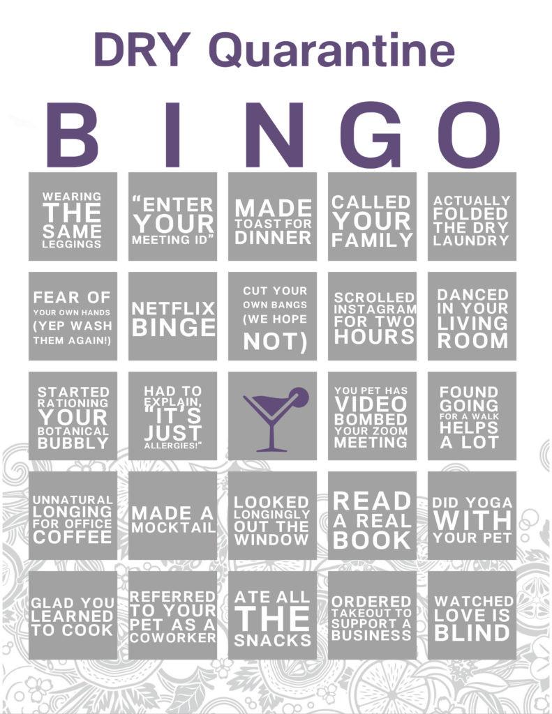 DRY Quarantine Bingo