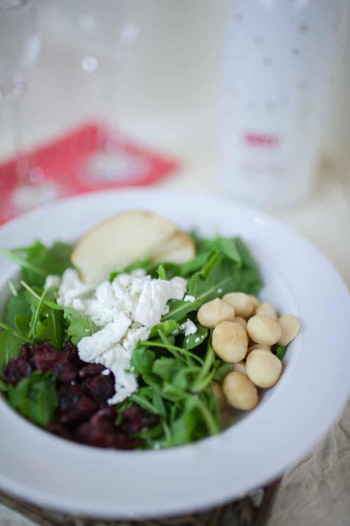 Pear and Pecan Arugula Salad with Sparkling Cranberry Vinaigrette