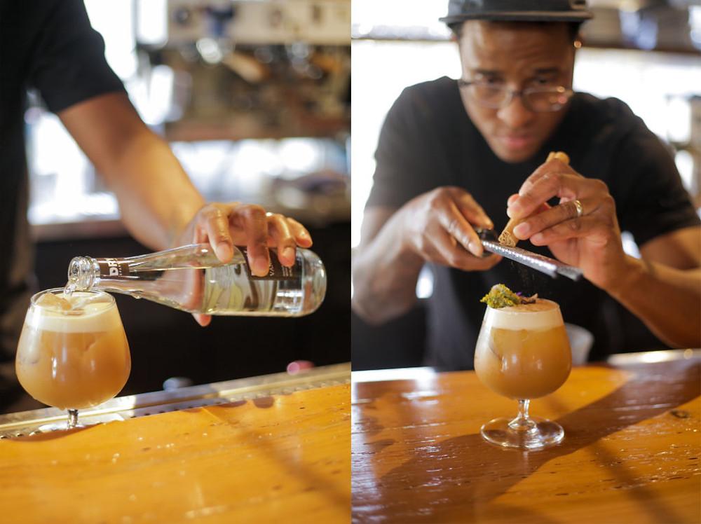 Jermaine making a Vanilla DRY Pumpkin Spice Latte Mocktail