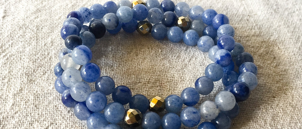Blue Agate and Faceted Hematite Stretch Bracelet
