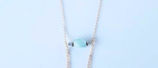 Pale Green Agate Double Loop Necklace