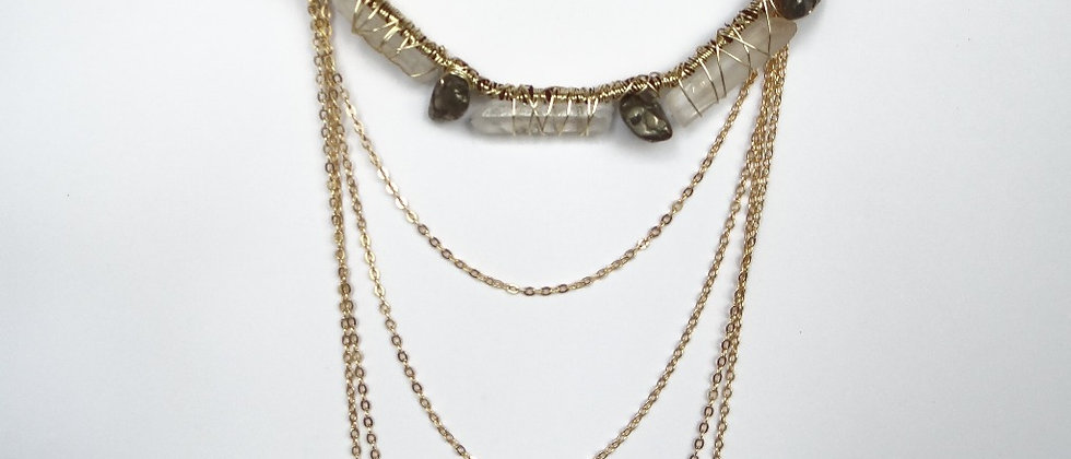 Quartz and Pyrite Layered Necklace