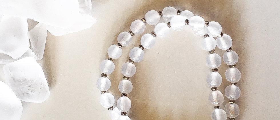 White Faceted Jade Bracelet