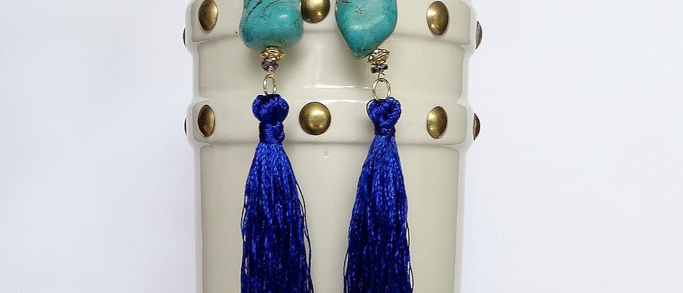 Blue Howlite Tassel Shoulder Grazer Earrings