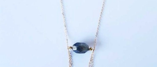 Deep Blue Agate Double Loop Necklace