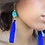 Thumbnail: Blue Howlite Tassel Shoulder Grazer Earrings