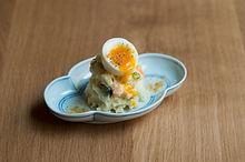 ポテトサラダ 〜半熟ゆで玉子と カラスミを添えて〜