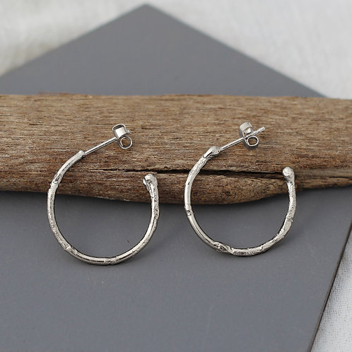 Textured Hoops - Medium - Recycled Silver