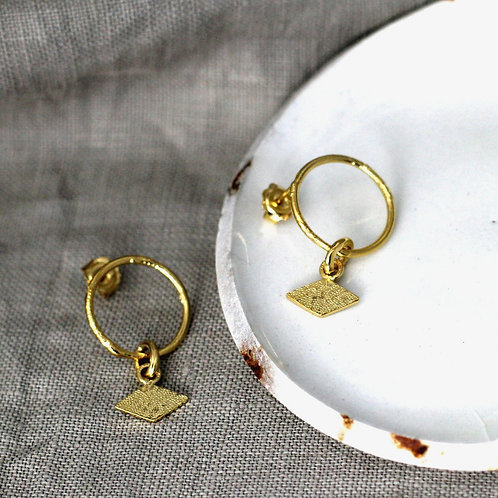 Textured Earrings with Rhombus Tag - Fairmined Gold Vermeil