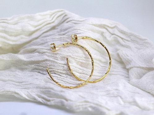 Large Textured Hoop   Fairmined Gold Vermeil