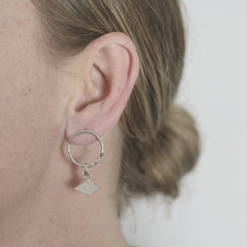 Textured Shape Earrings with Rhombus Tag - Recycled Silver