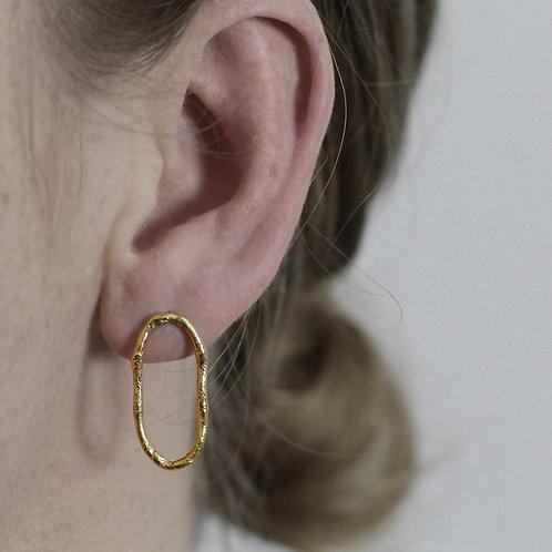 Textured Loop Earrings - Medium - Fairmined Gold Vermeil
