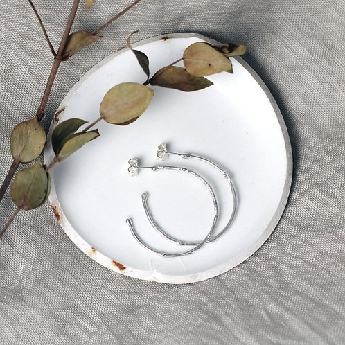 Textured Hoops - Large - Recycled Silver