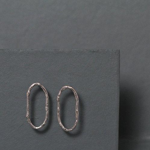 Textured Loop Earrings - Medium - Recycled Silver