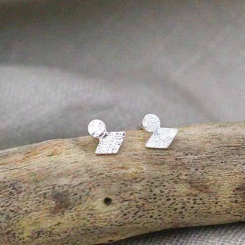 Textured Shape Stud Earrings - Recycled Silver