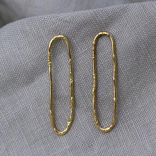 Textured Loop Earrings - Large - Fairmined Gold