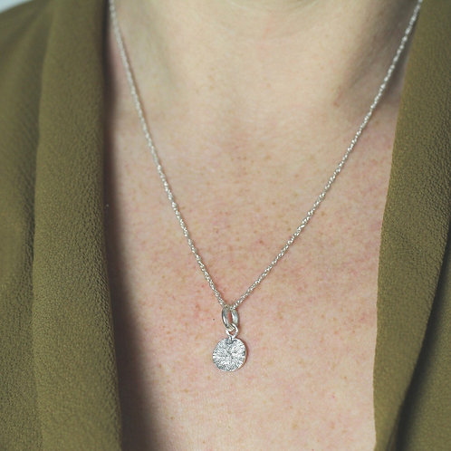 Textured Shapes Necklace with Round Tag - Recycled Silver
