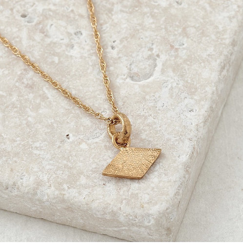 Textured Shapes Necklace with Rhombus Tag - Fairmined Gold Vermeil