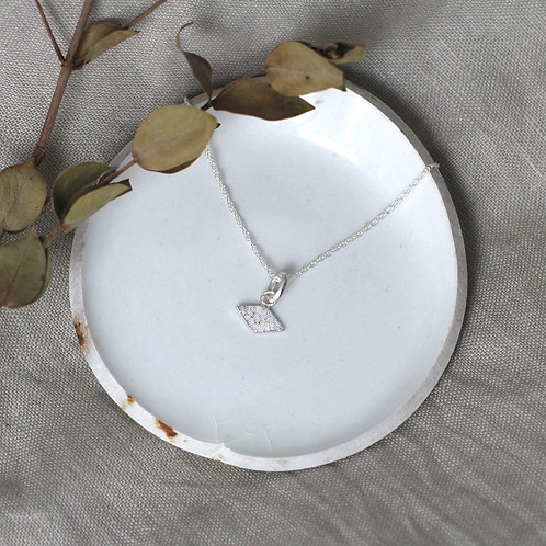 Textured Shapes Necklace with Rhombus Tag - Recycled Silver