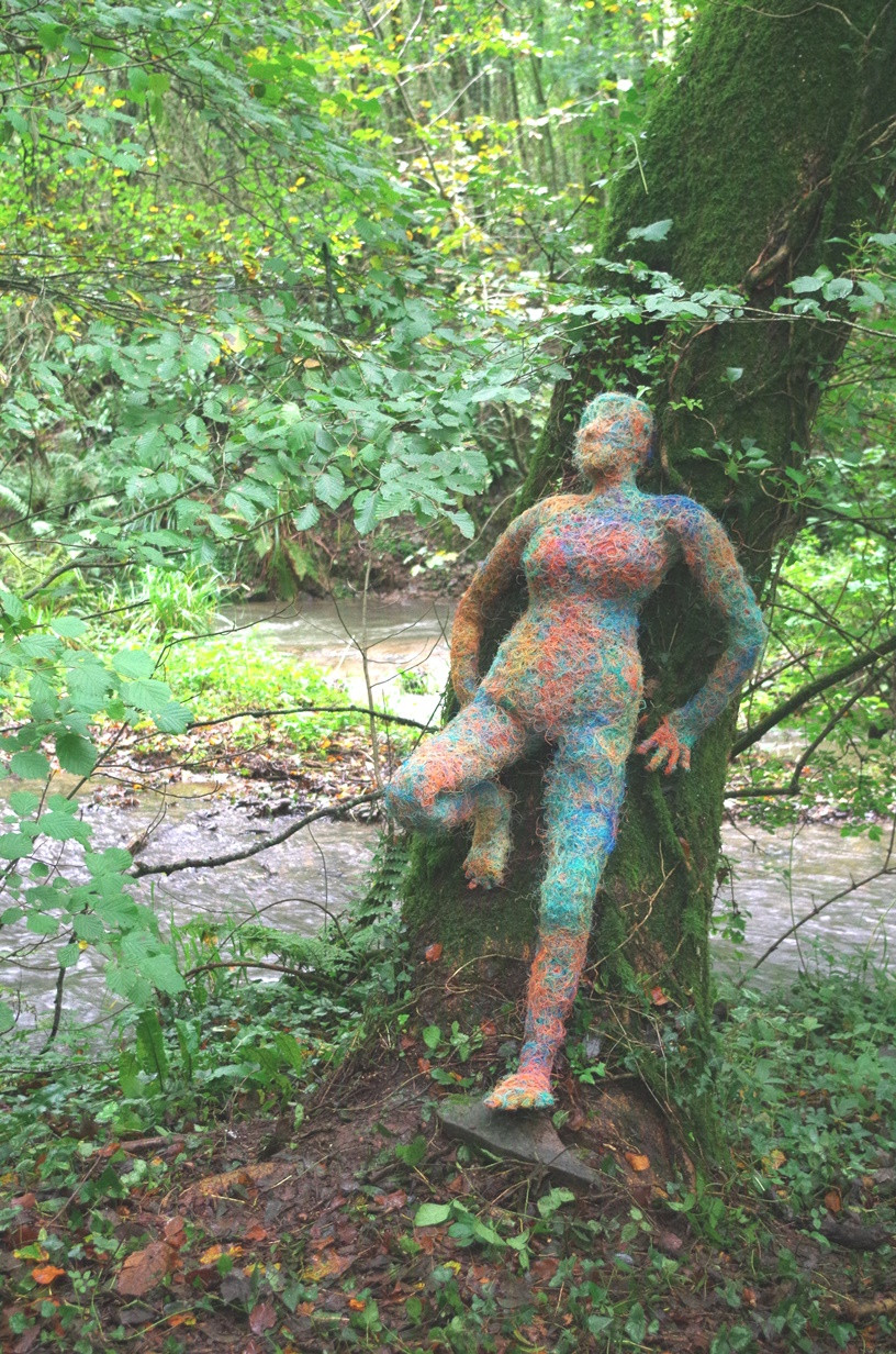 A'net, sewn together using discarded fishing line is a lifesize sculpture