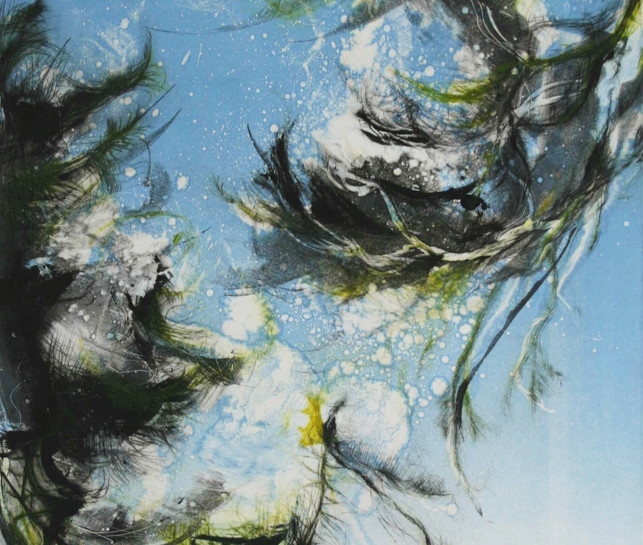 'Pine Branches, Summer Breeze in Blue No1'