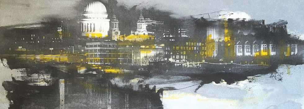 'Night Skies Across the Thames in Yellow & Silver' No2 unique monotype etching, 28.5x18.5cm on 300gsm Somerset paper £2.....jpg