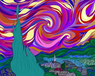 Van Gogh, Pink & Purple II