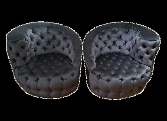 Kagan Style Swivel Chairs - Pair