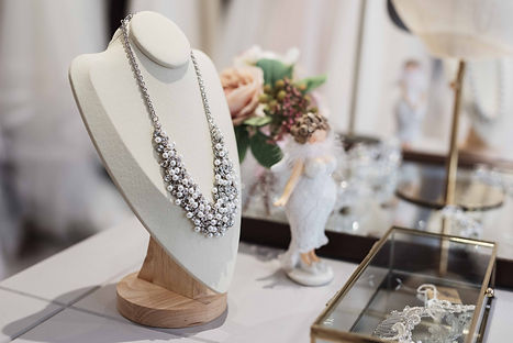 bridal jewellery and accessories on display in a plus size specific bridal boutique