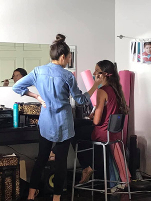 During hair & makeup for photoshoot at M