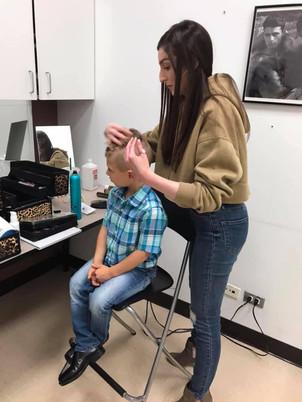 During hair & makeup headshot photoshoot