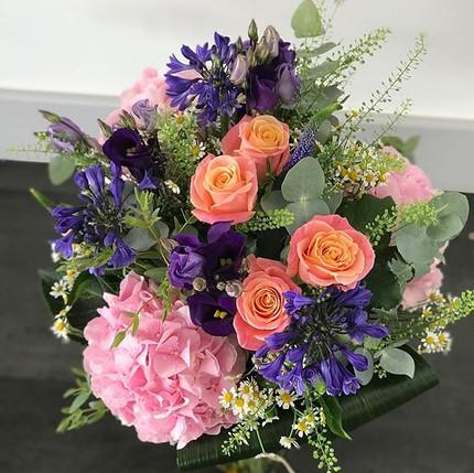 Birthday vase of Hydrangea, roses, agapa