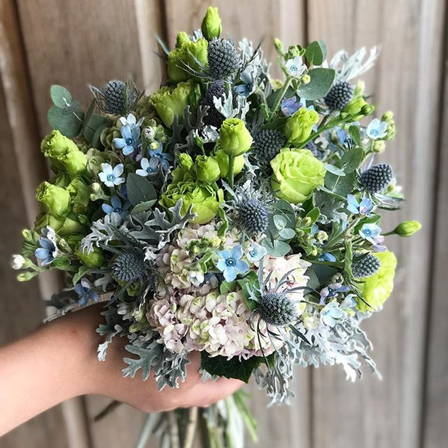 Pretty little wedding bouquet in blues,