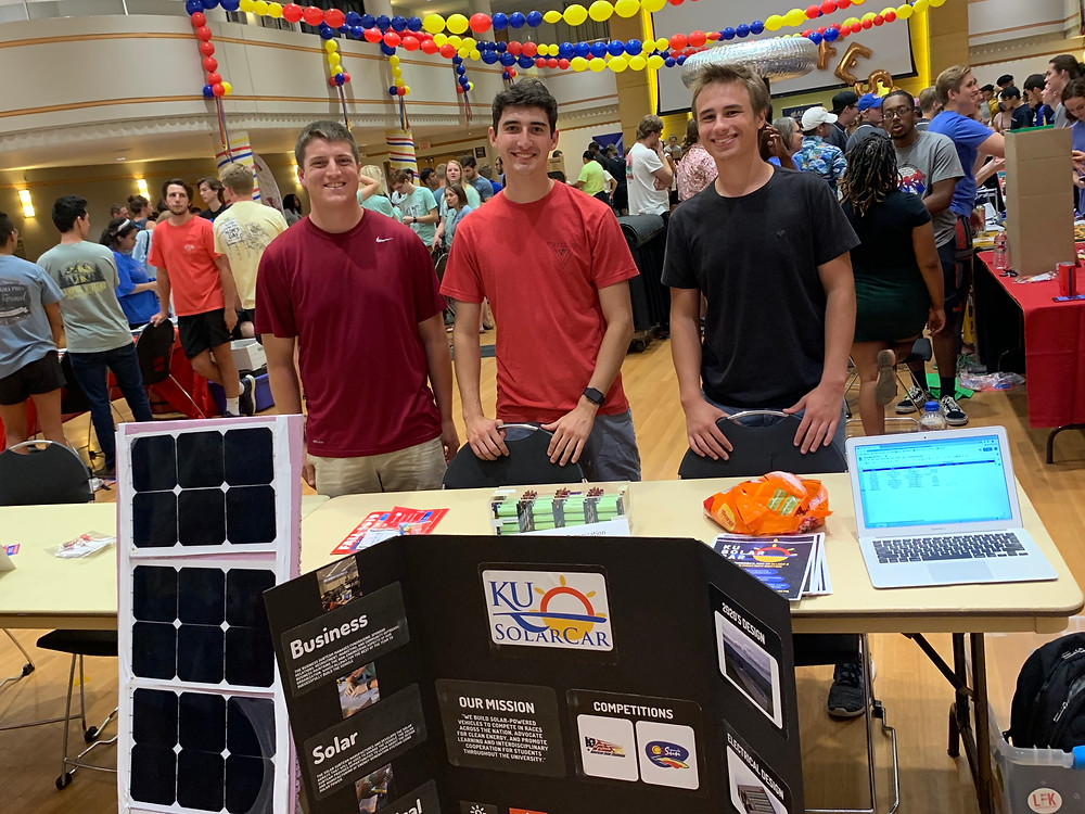 KU Solar Car Members [from left to right] Zachary Hall, Hayden Barnes, and Bennett Vavak