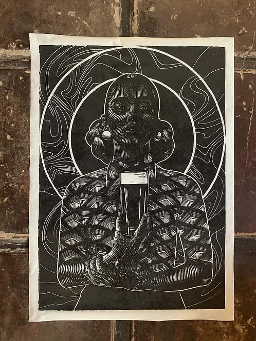 Porter lady - handmade print  limited edtion