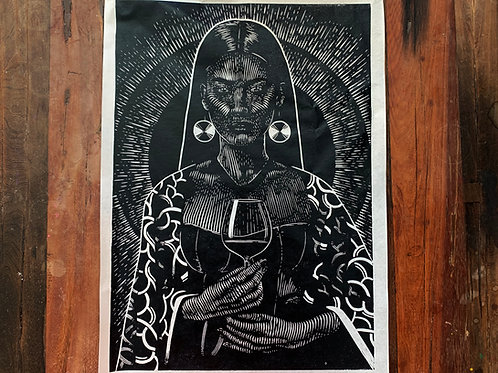 Wine lady lino version- handmade print  limited edtion